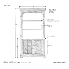 Custom hutch shop drawing 1