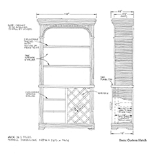 Custom hutch shop drawing 2