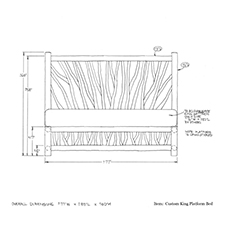 Custom King Platform Bed shop drawing