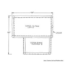 Custom Loft Platform Bed shop drawing 1