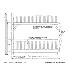 Custom Loft Platform Bed shop drawing 2