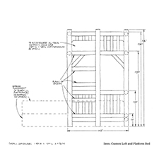 Custom Loft Platform Bed shop drawing 3