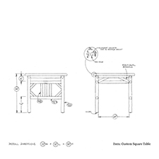 Custom Square Table shop drawing 2