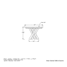 Custom Table with Leaves shop drawing 3