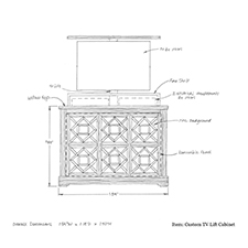 Custom tv lift cabinet shop drawing 1