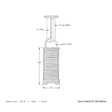 Custom tv lift cabinet shop drawing 2