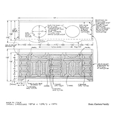 Custom vanity with double sinks shop drawing 1