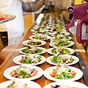 Chefs stage salads on vintage La Lune machinery