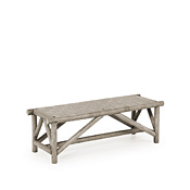 Rustic Woven Leather Bench #1147