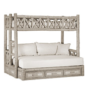 Rustic Bunk Bed with Drawers Twin/Full (Ladder Left) #4622L