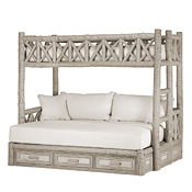 Rustic Bunk Bed with Drawers Twin/Full (Ladder Right) #4622R