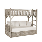 Rustic Bunk Bed with Drawers Twin/Twin (Ladder Right) #4626R