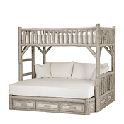 Rustic Bunk Bed with Drawers Twin/Full (Ladder Left) #4628L