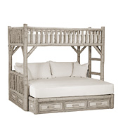 Rustic Bunk Bed with Drawers Twin/Full (Ladder Right) #4628R