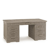 Rustic Desk with Willow Top & Inset Glass #2140