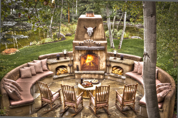 Outdoor Fireplace - The Picket Fence, Ketchum, ID