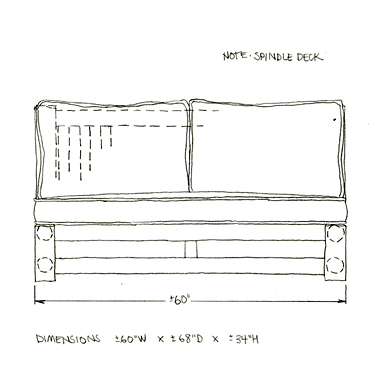 La Lune Collection Custom Chaise Drawing 2