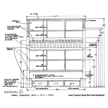 La Lune Collection Custom Bunk Bed Shop Drawing