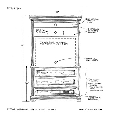 La Lune Custom Cabinet Drawing 2