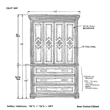 La Lune Custom Cabinet Drawing 1